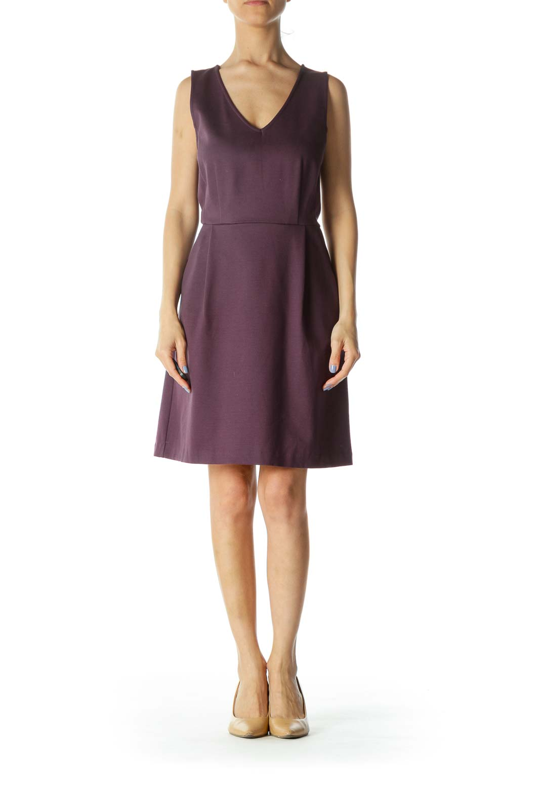 Purple V-Neck Sleeveless Pocketed A-Line Dress