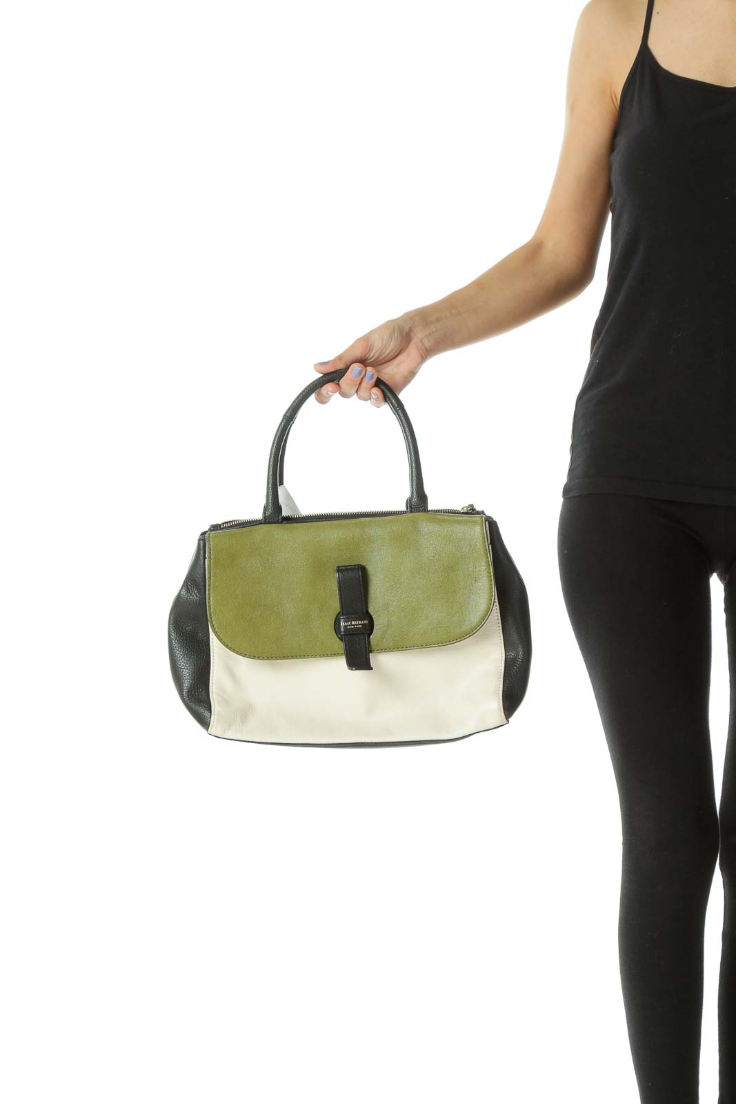 Green/Black/Cream Gold Hardware Satchel