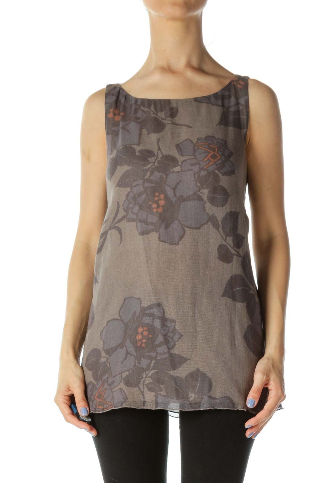 Gray/Blue/Beige 100% Cotton Sleeveless Flower-Print Knit Top