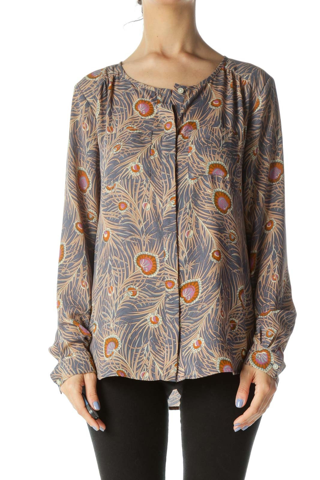 Gray/Beige/Orange Pocketed Round-Neck Long-Sleeve Blouse