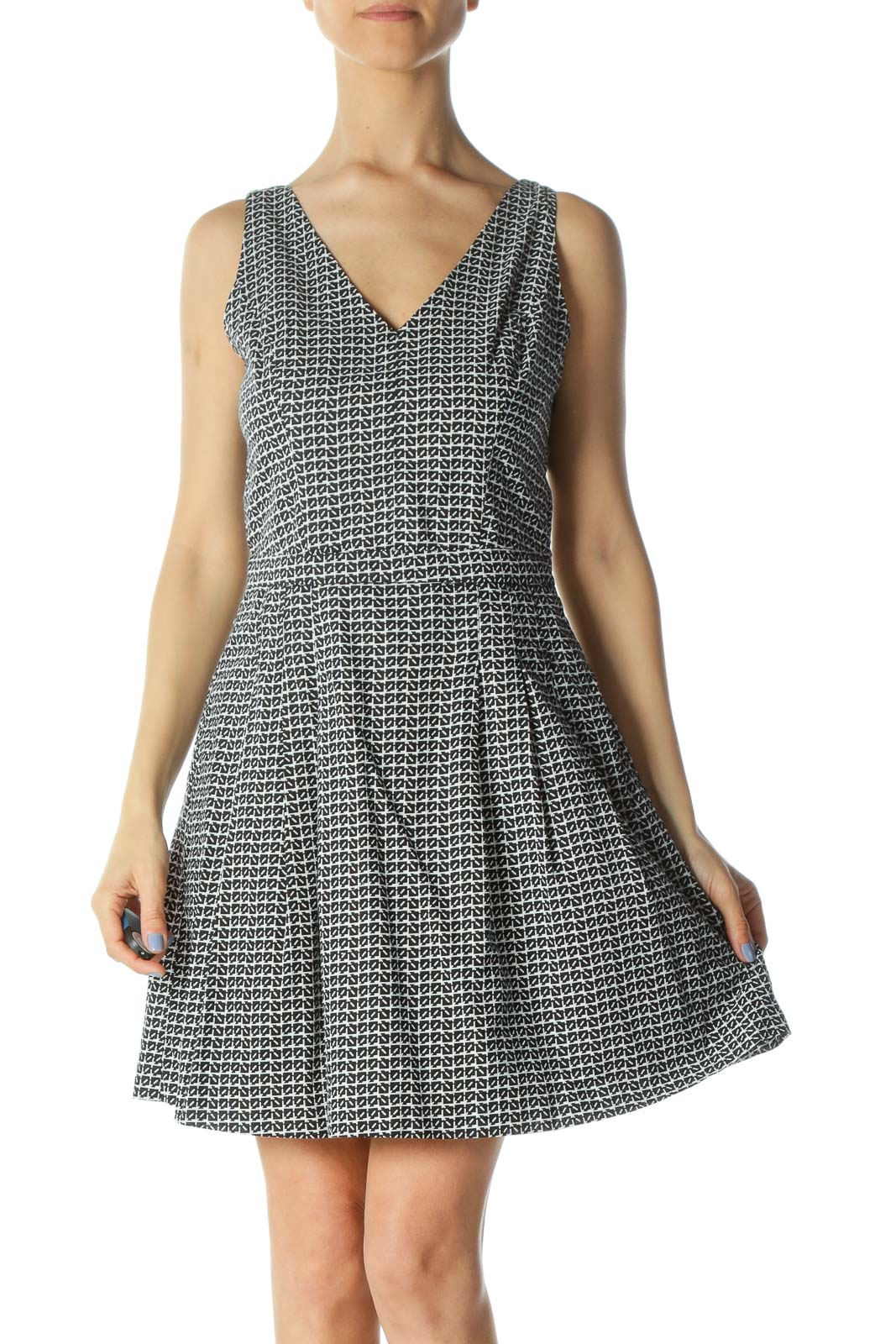 Black/White 100% Cotton Printed Back Knot and Cut-Out Dress