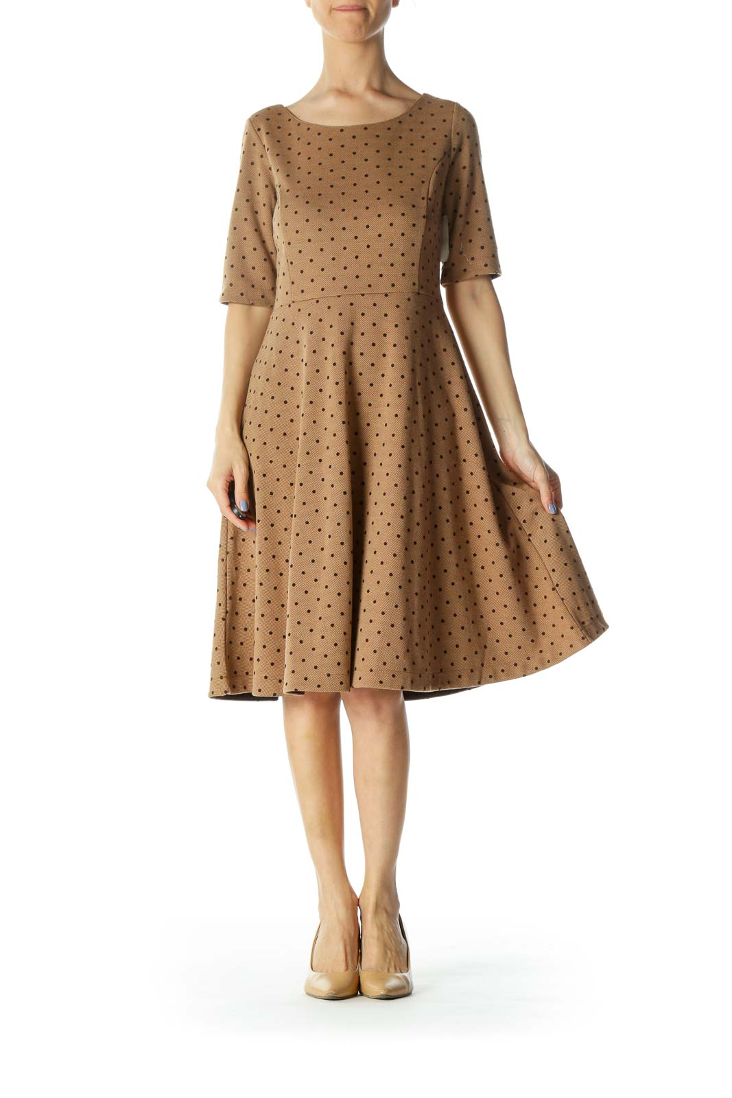 Brown Herringbone 3/4-Sleeve Textured Skater Dress