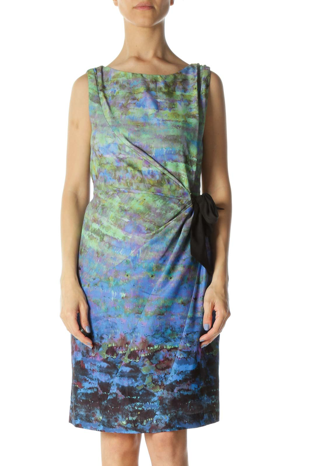 Blue/Green/Black Paint-Print Lined Belt Work Dress
