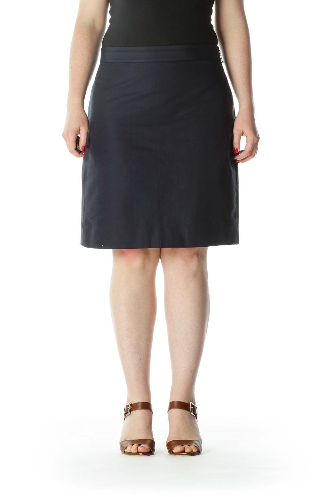 Navy Blue Gold Zipper Silk Cotton Lined Skirt