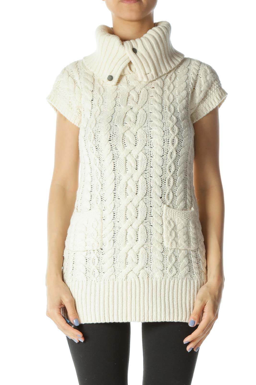Cream Cable-Knit Turtle-Neck Short-Sleeve Pocketed Dress
