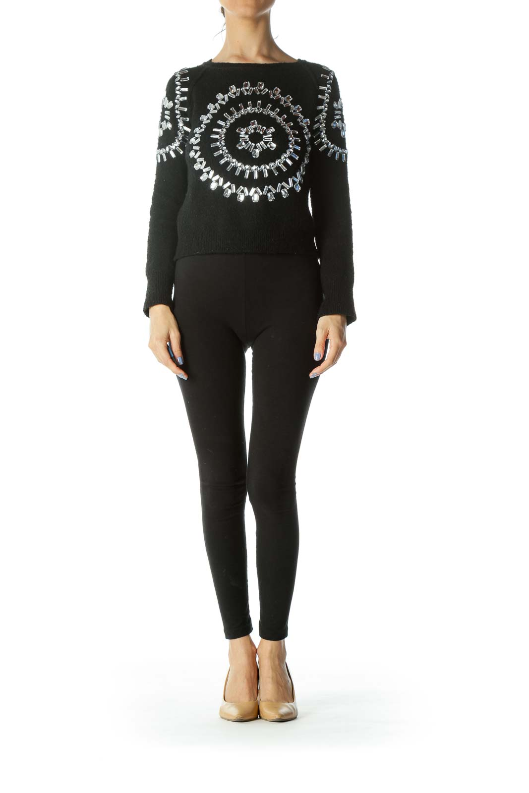 Black Mohair Mercerized Wool Embellished Long-Sleeve Sweater