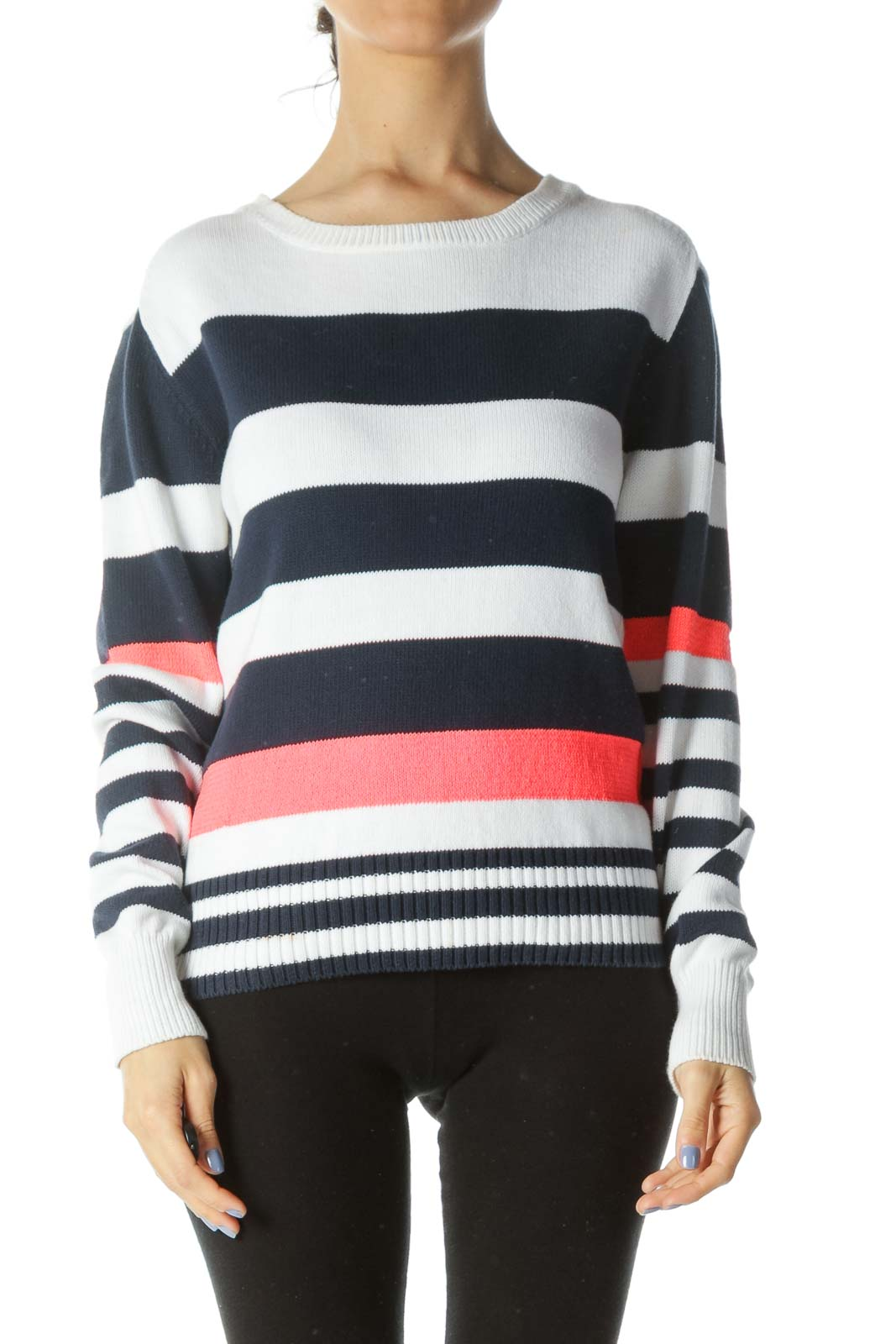 Blue/White/Neon-Pink Striped Long-Sleeve Sweater