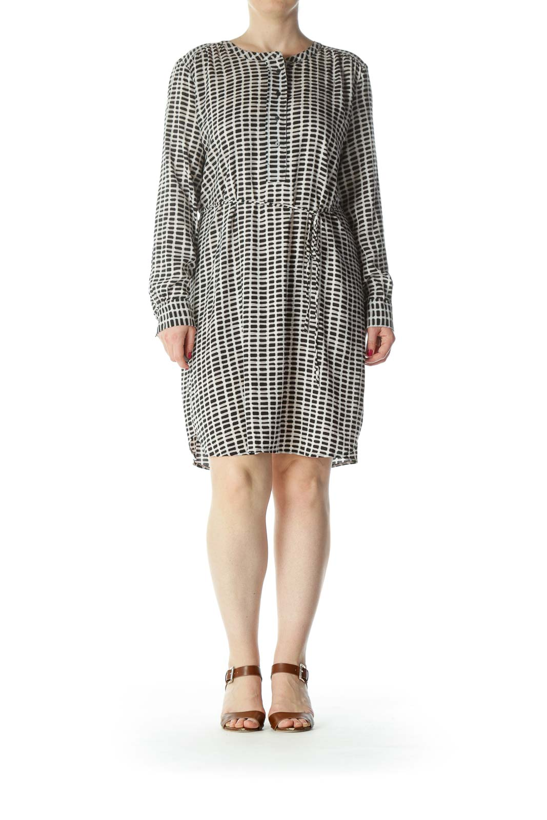 Black/Beige/White Printed Long-Sleeve Belted Dress
