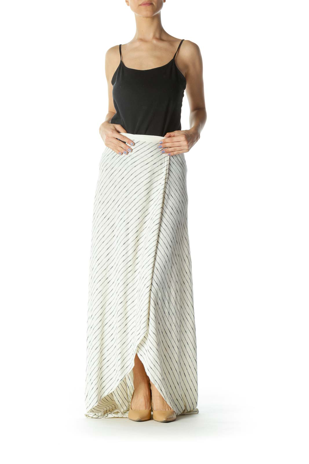 Cream/Black Striped Knit Maxi Skirt with Waist Tie