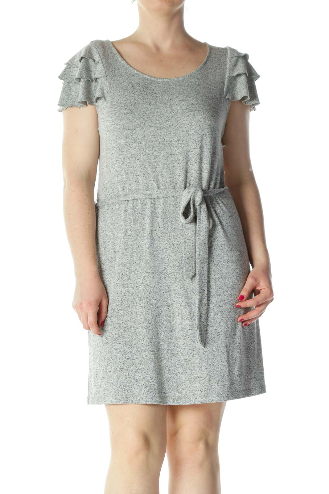 Gray Flared-Cap-Sleeves Belted Textured Dress