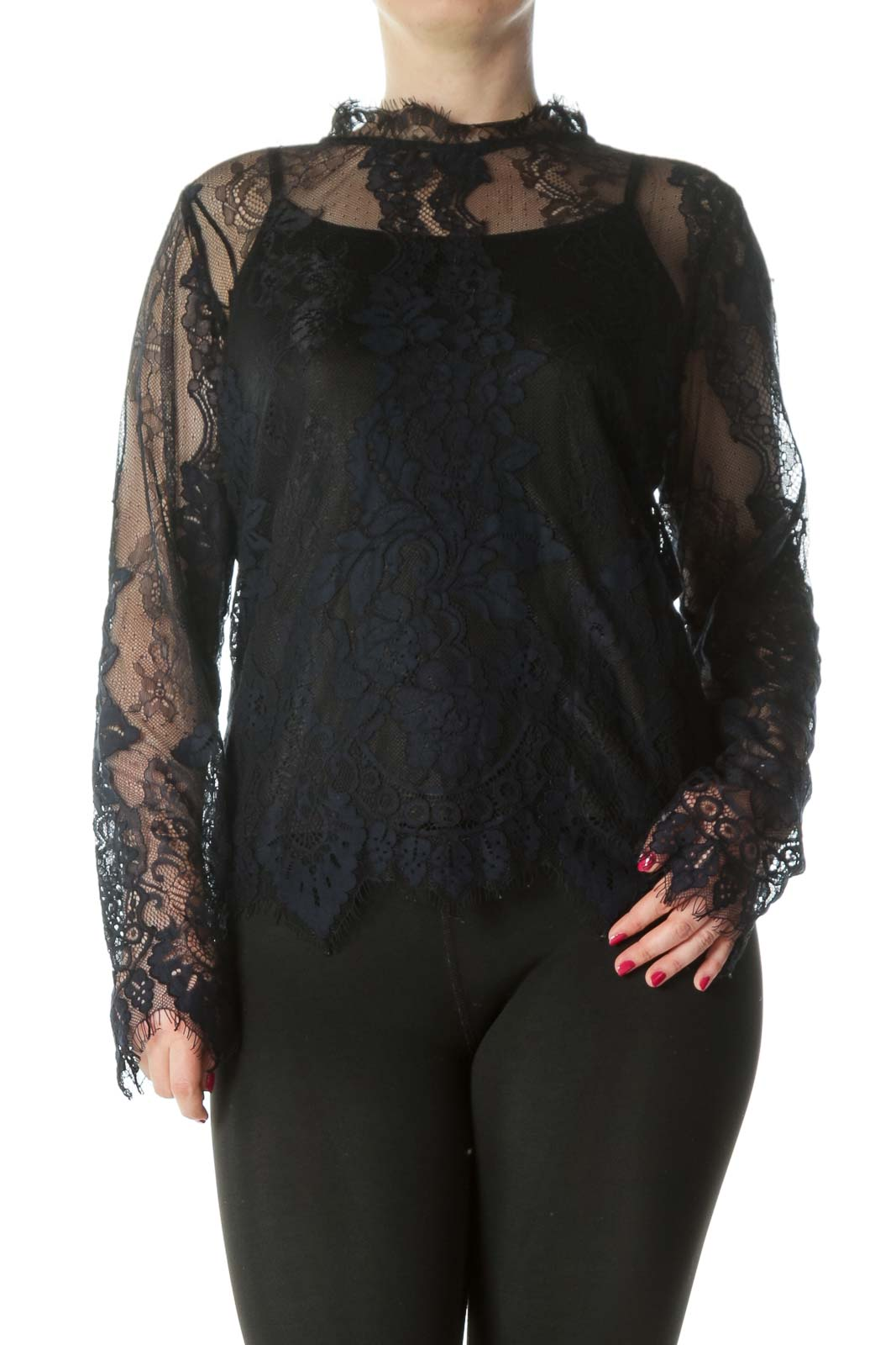 Black Navy Lace Blouse Top