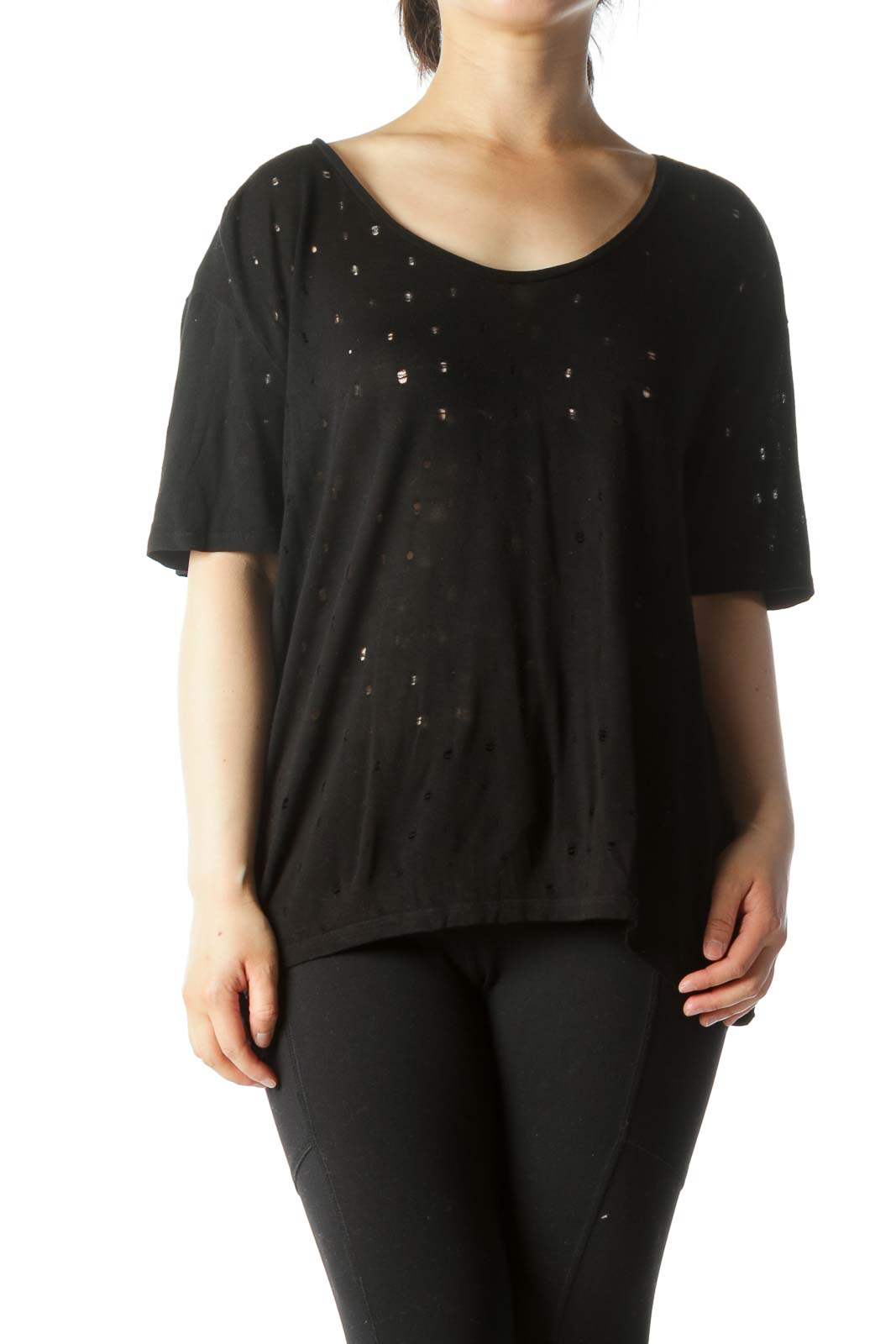 Black Cut-Outs See Through T-Shirt