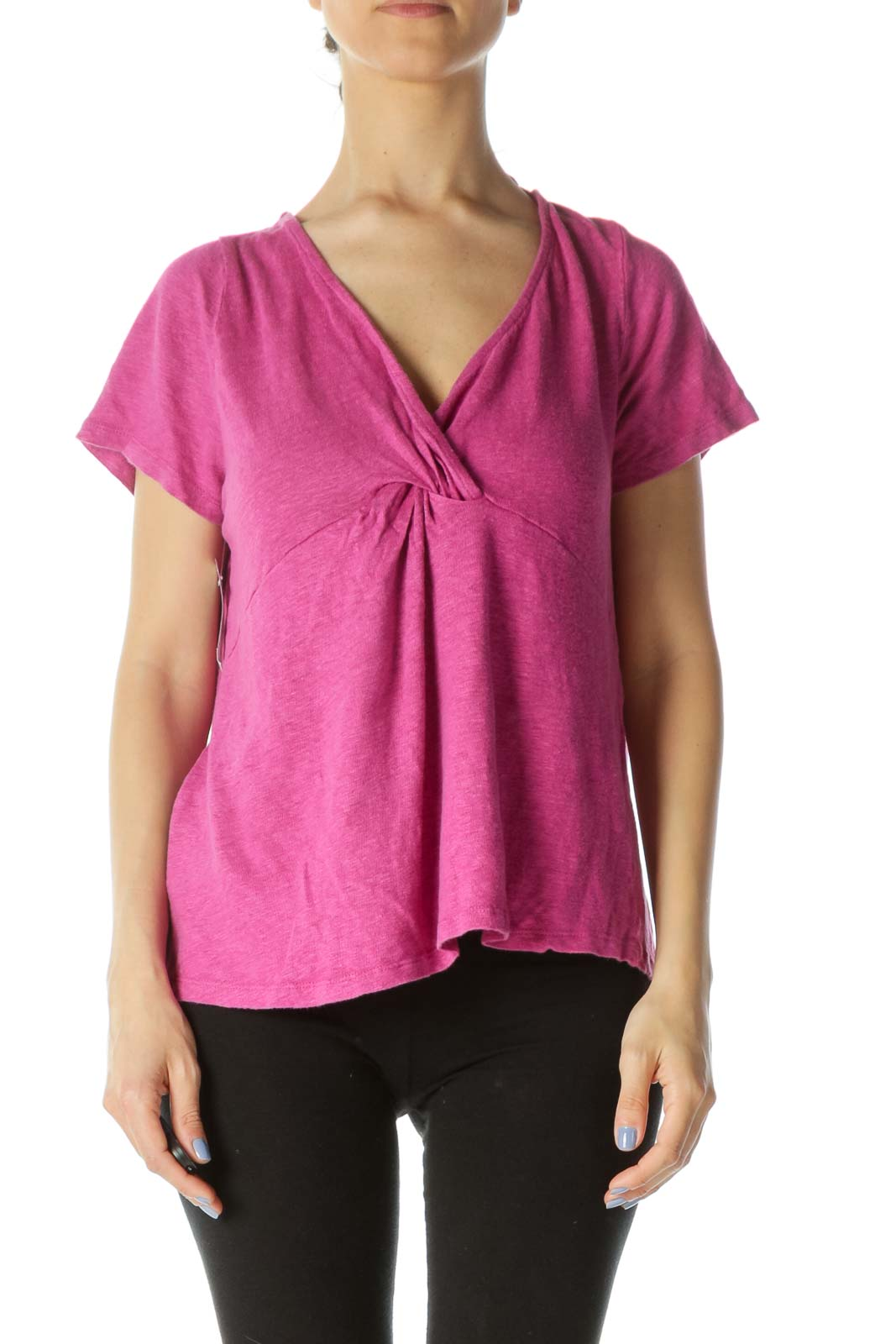 Magenta Pink 100% Linen Short-Sleeve Knot Detail Knit Top