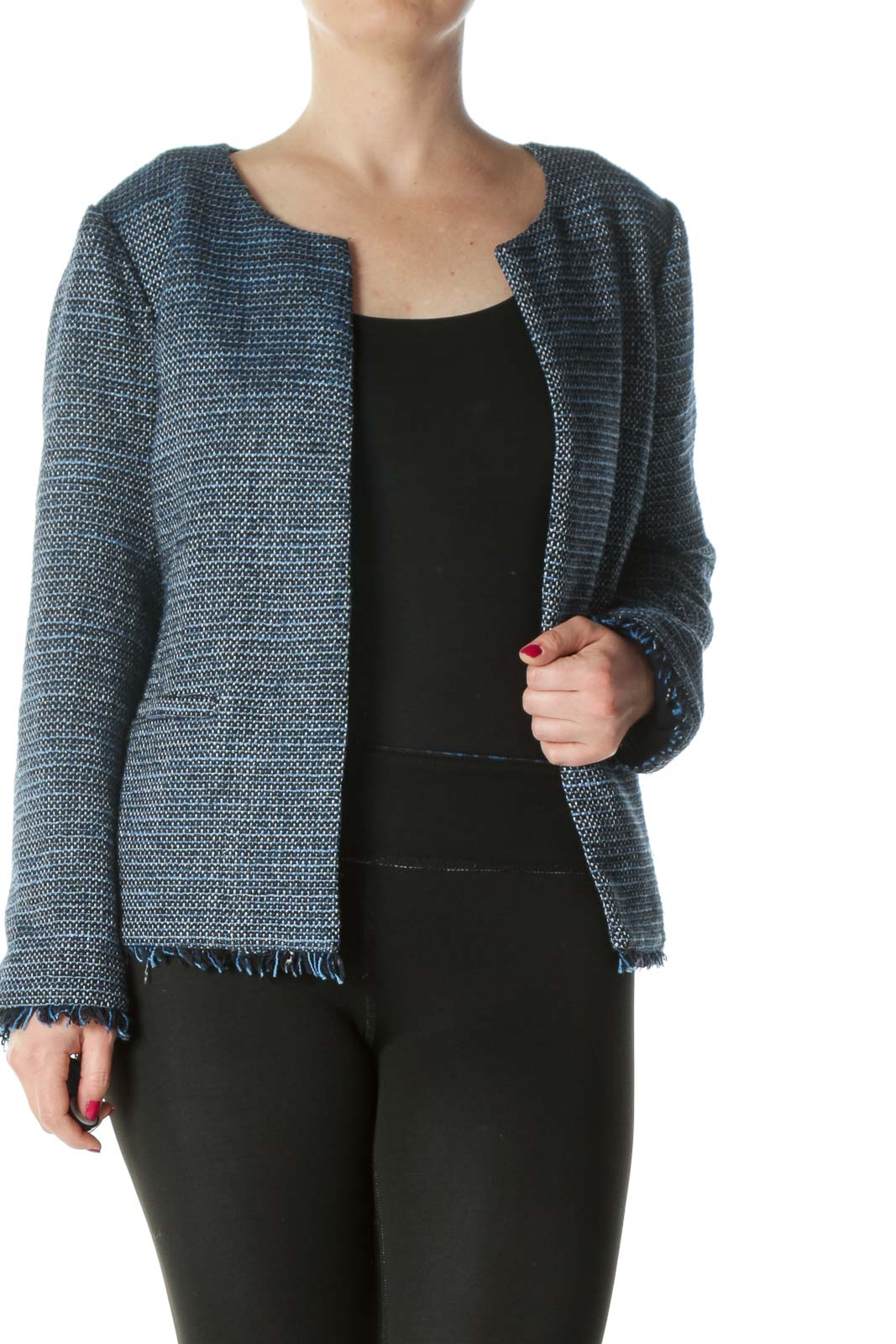 Black/Blue/White Woven Knit Open Blazer