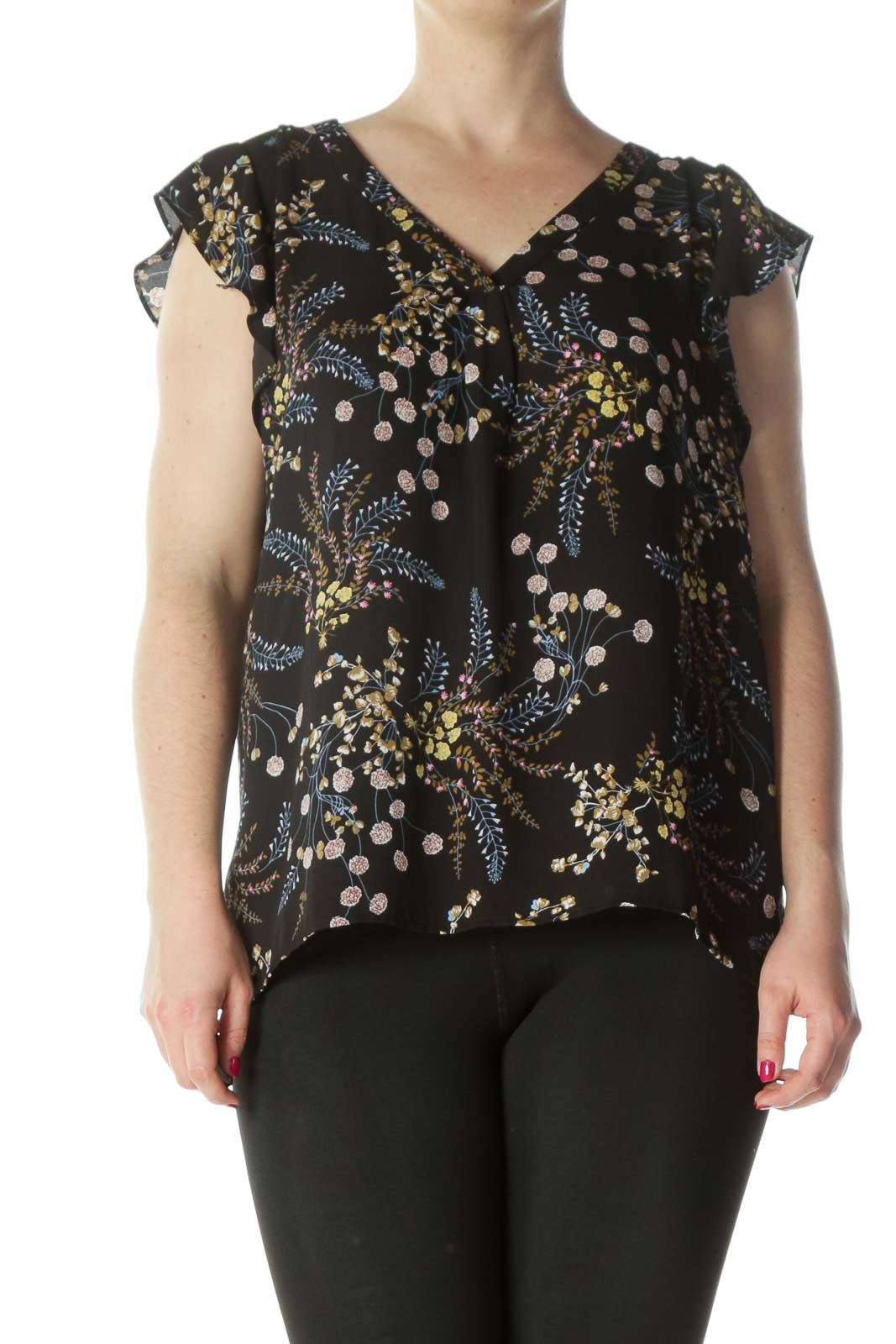 Black Multi Floral Ruffled Sleeveless Blouse