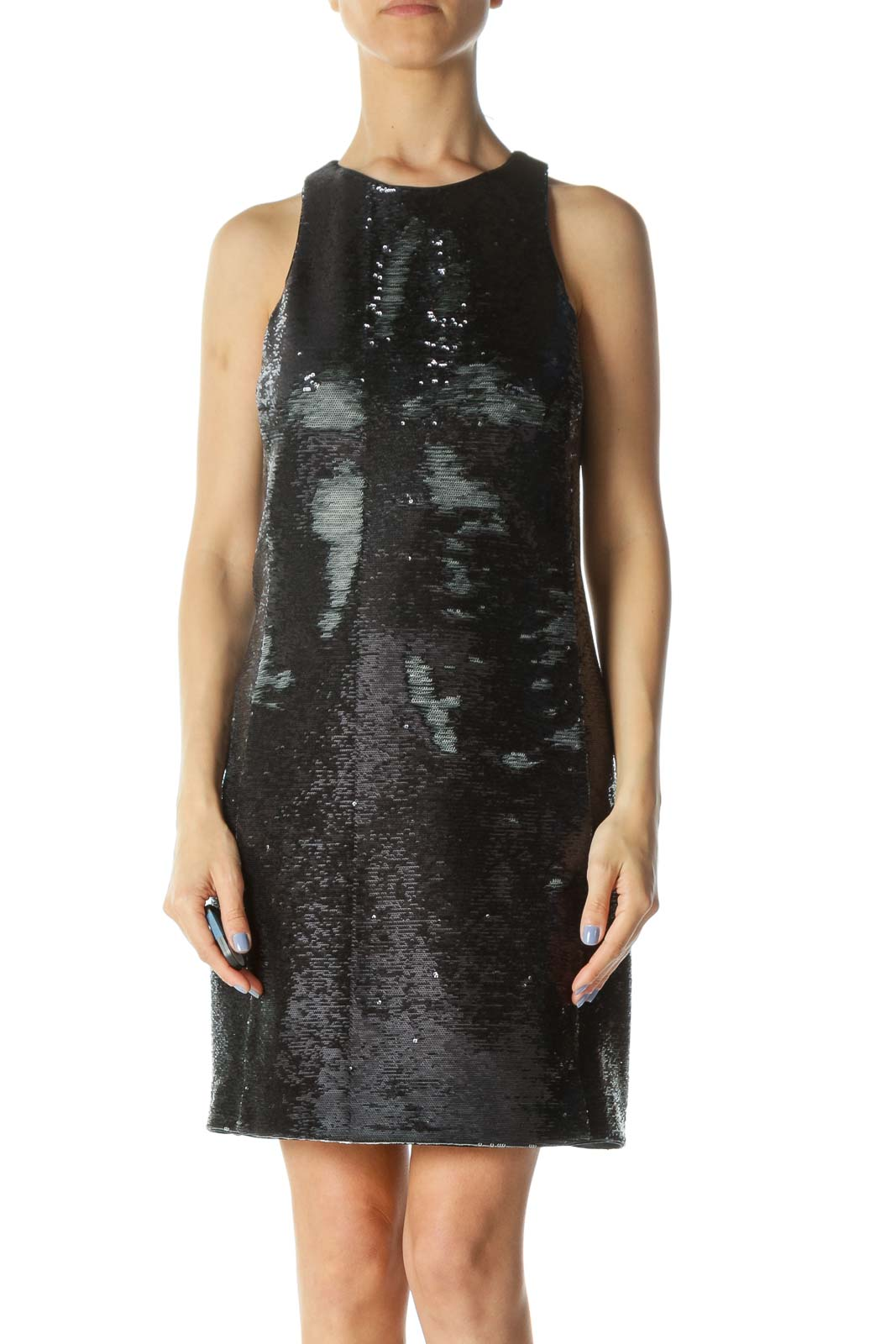 Black/Silver Sequined High-Round-Neck Lined Cocktail Dress
