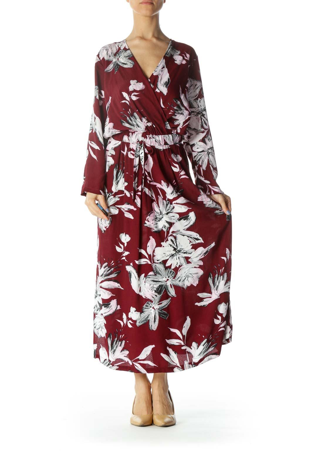 Burgundy/White/Black Flower-Print Pocketed Dress with Back String-Tie