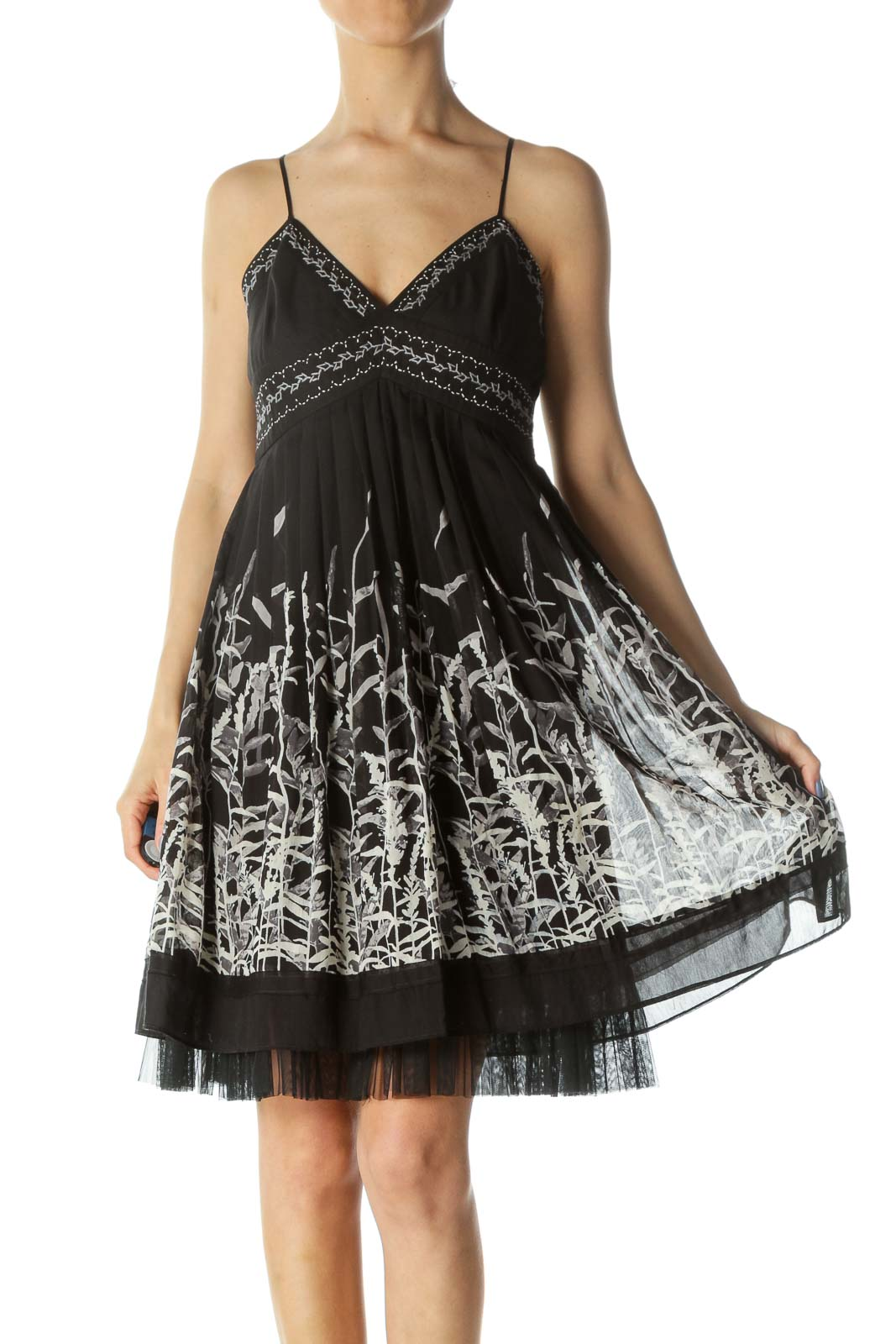 Black/Gray/White Plant-Print Pleated Upper-Stitching Cocktail Dress