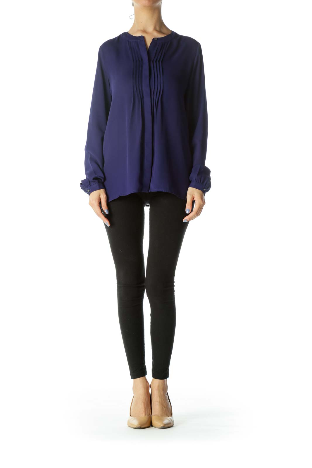 Blue Pleated Accent Long-Sleeve Round-Neck Blouse