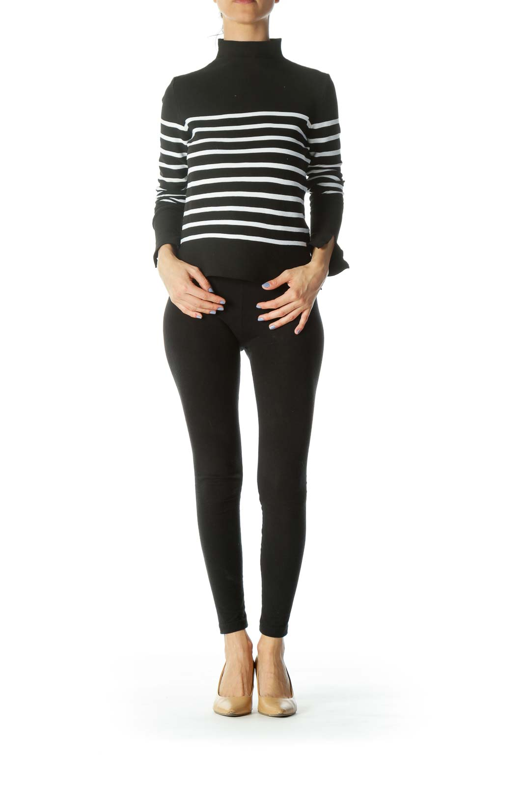 Black/White Striped High-Neck Textured Stretch Knit Top