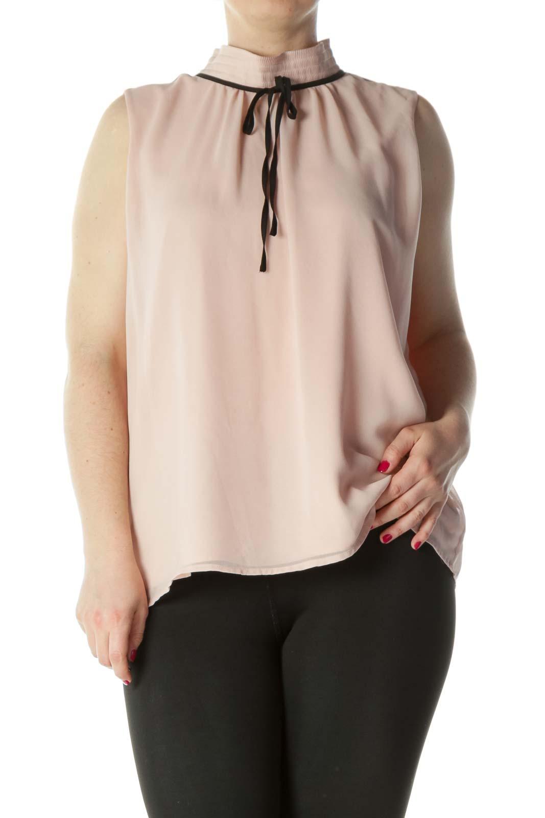 Peachy Pink Mock Neck Sleeveless Blouse
