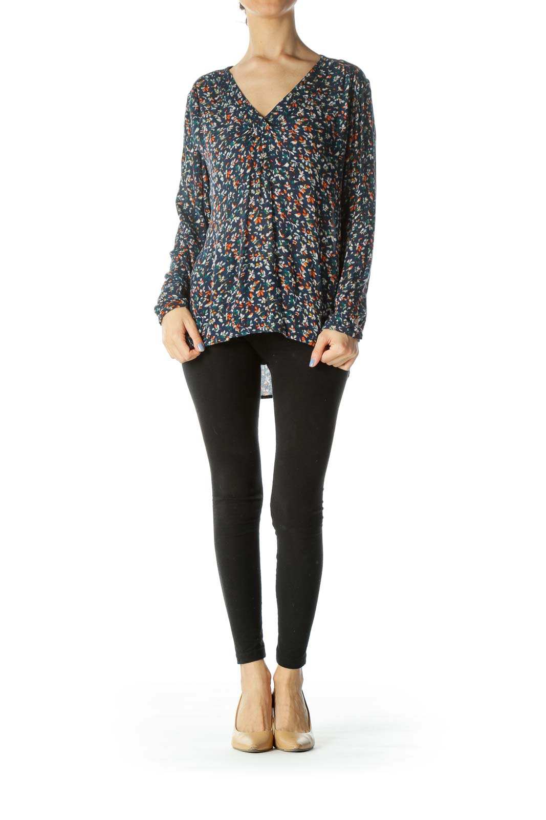 Navy Multi Floral V-neck Top