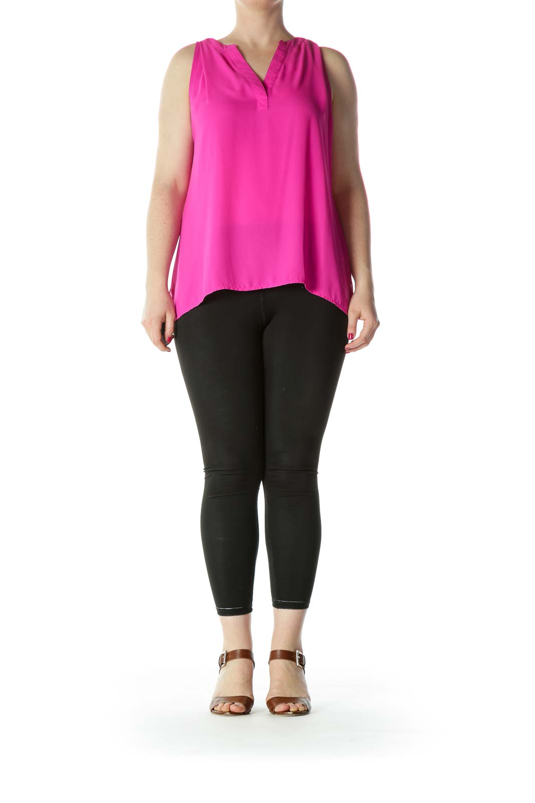 Bright Pink V-neck Blouse