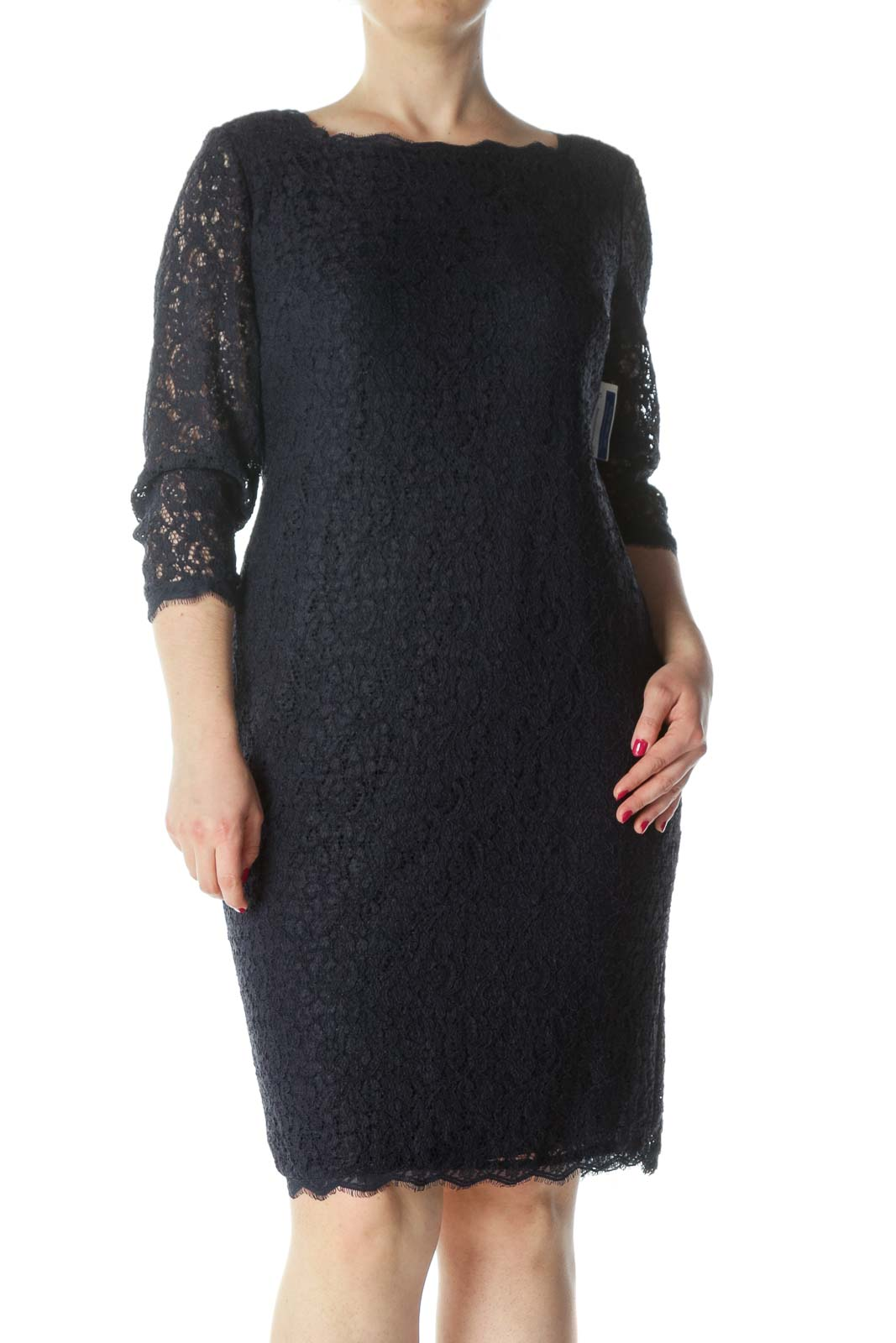 Navy-Blue Lace-Body 3/4-Sleeve Back-Zipper Dress