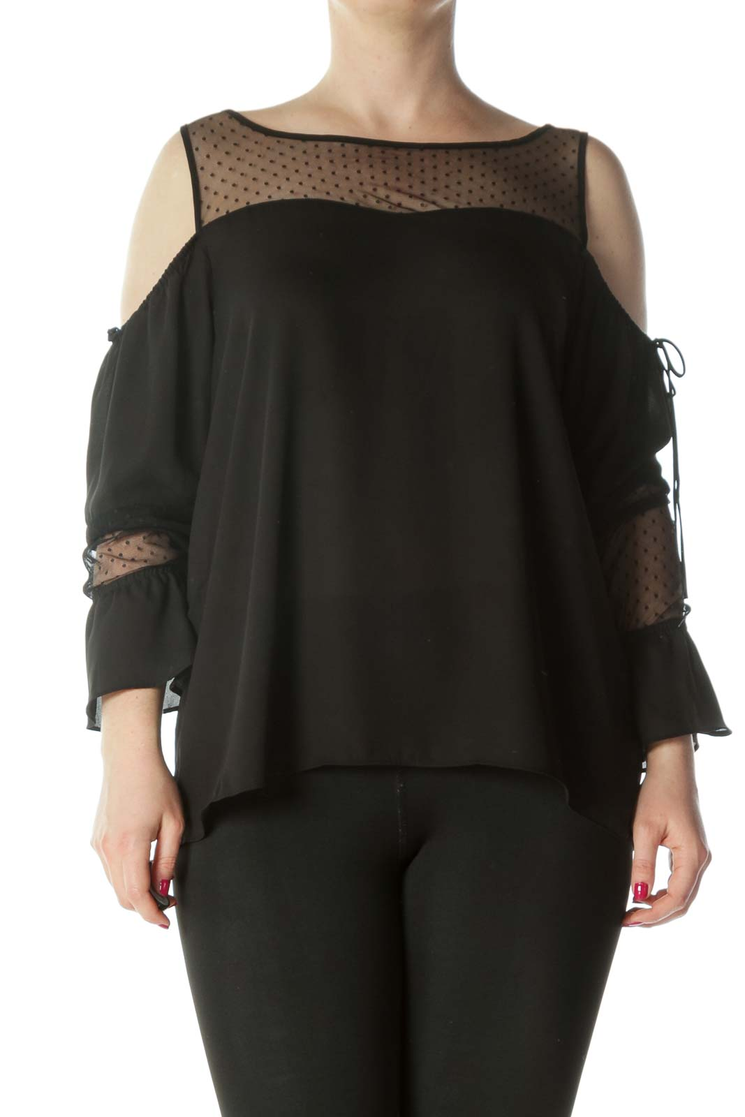 Black Cold-Shoulder See-Through Polka-Dot Long-Sleeve Blouse