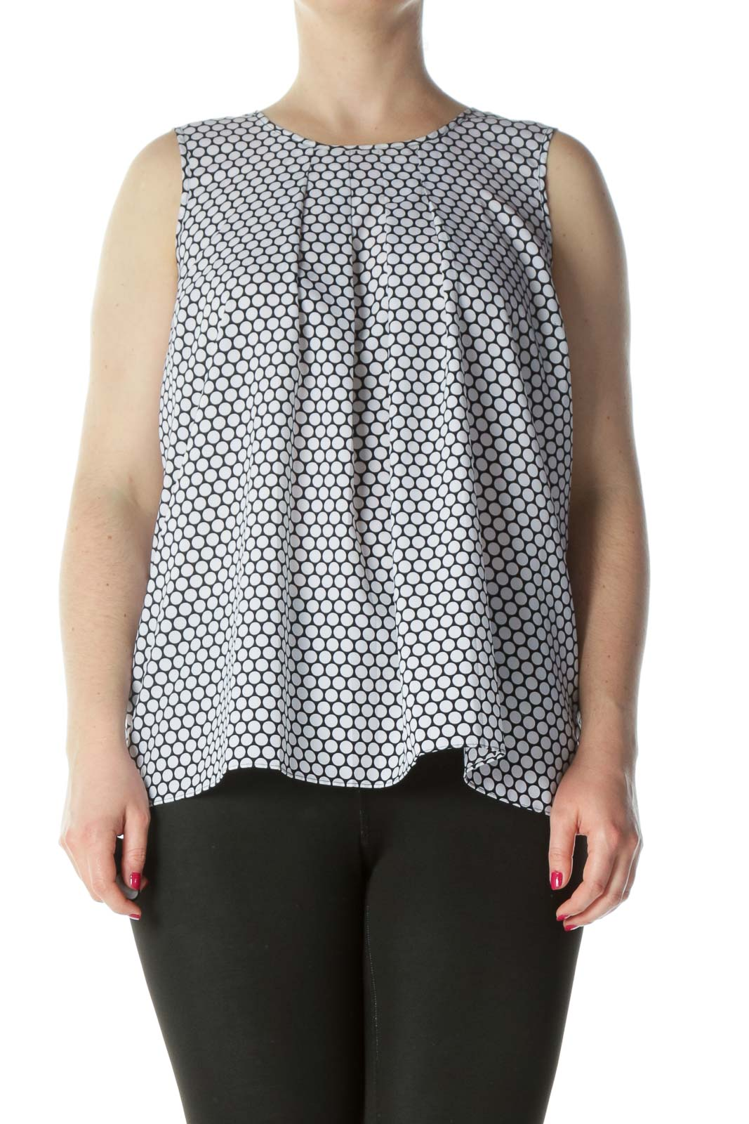 Black White Geo Pattern Tank Top