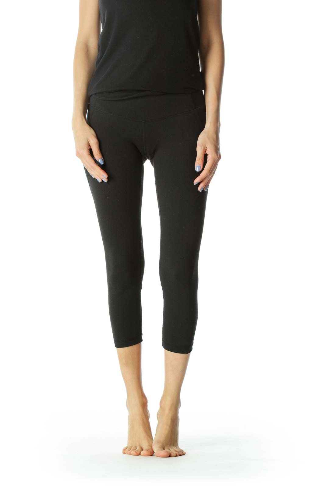 Black Cropped Activewear Mesh Detail Leggings