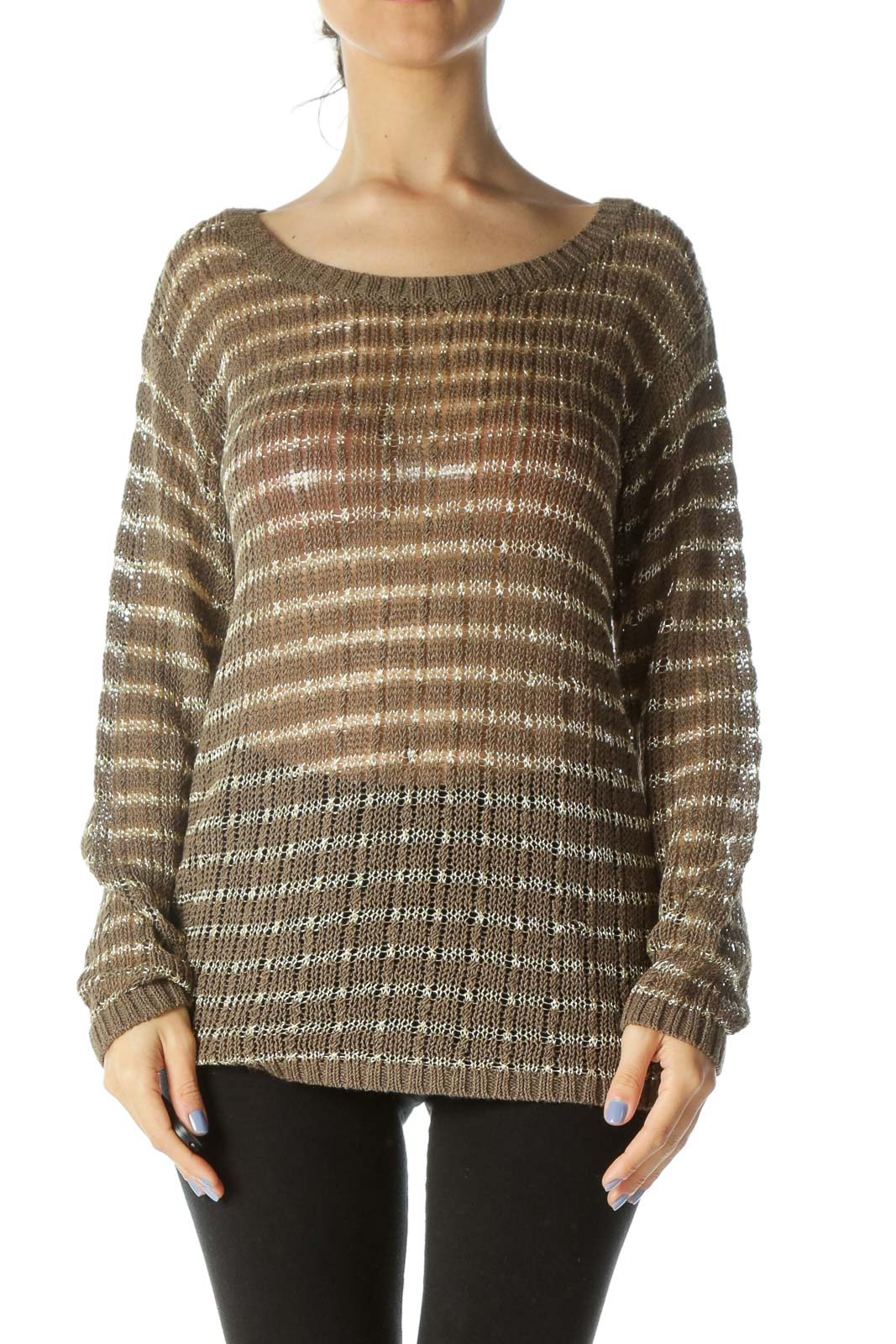 Brown Gold Striped Knit Top