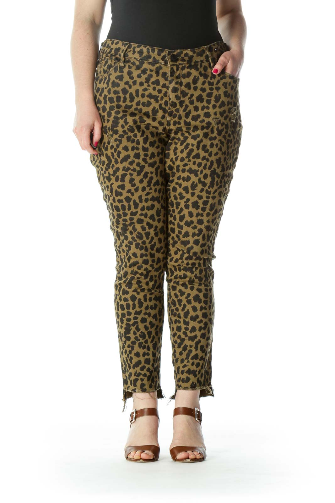 Olive-Green/Black Animal-Print Step Raw-Hem Stretch Denim Jeans