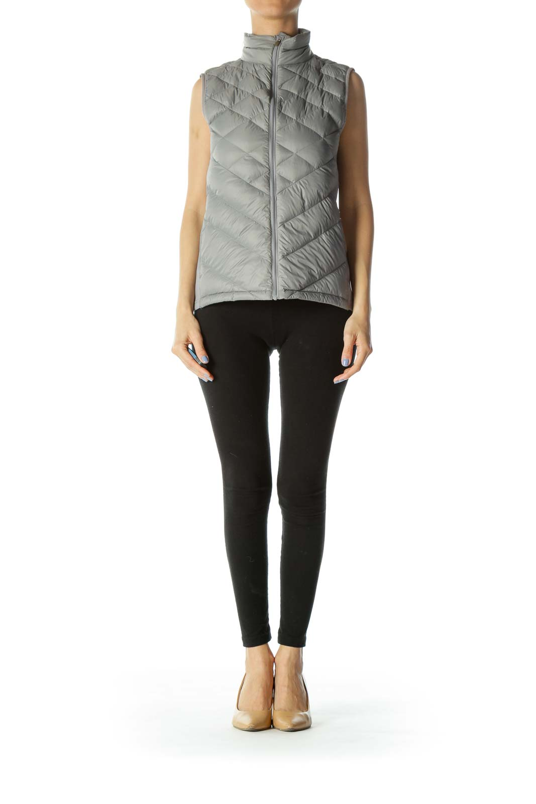 Gray Quilted Padded Zippered Vest