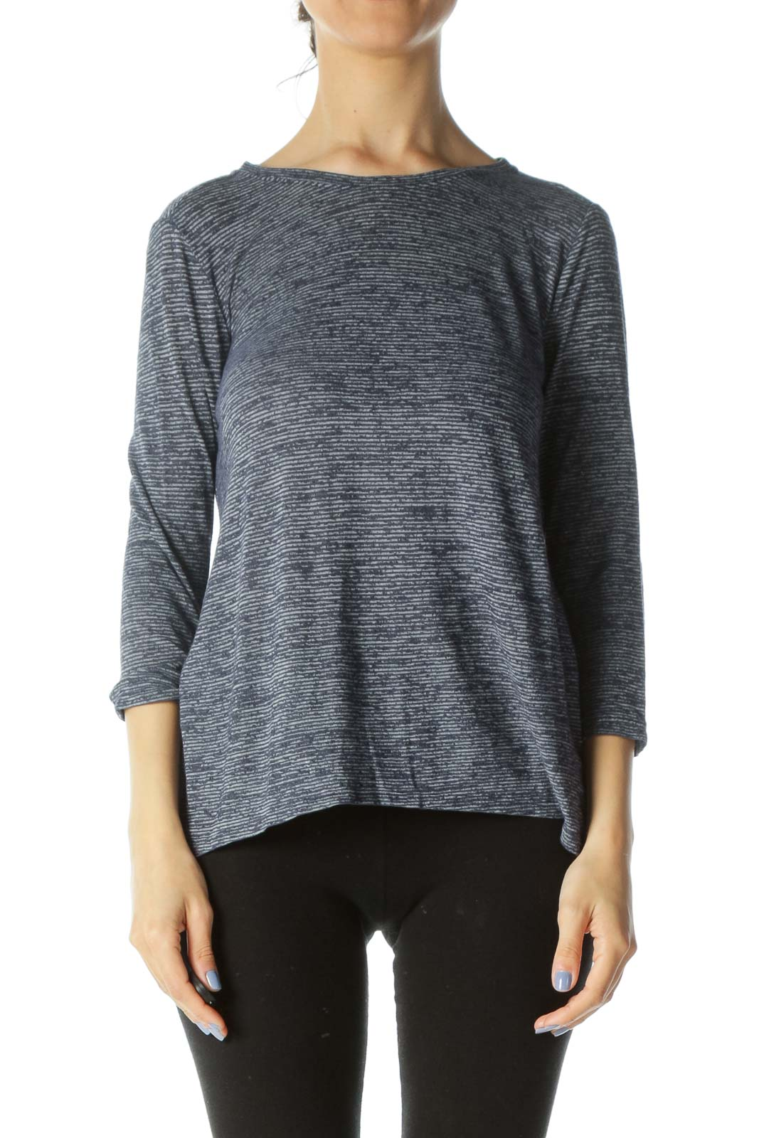 Blue/Gray Striped Stretch Long-Sleeve Textured Activewear Top