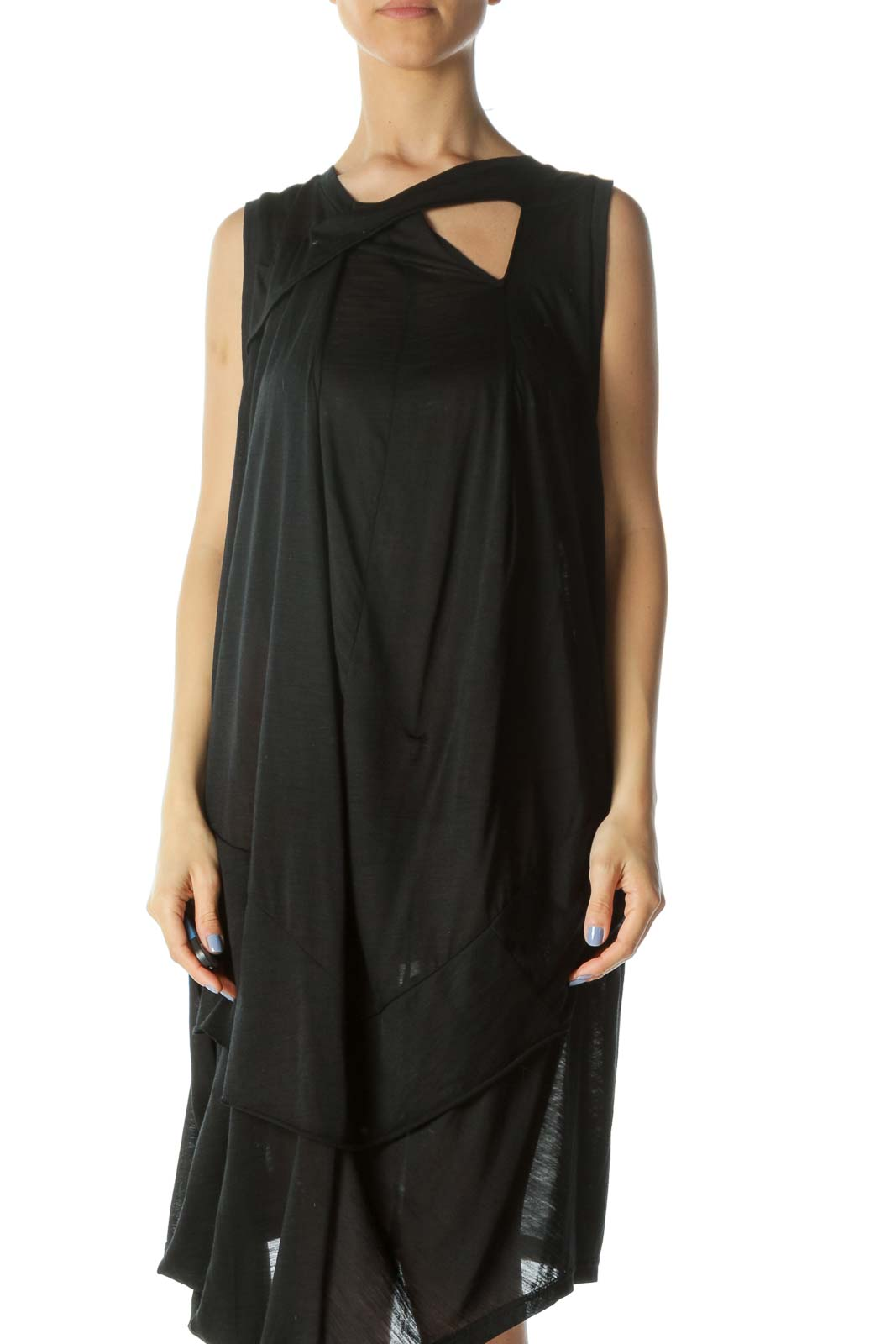 Black See-Through Keyhole Asymmetrical Layered Dress