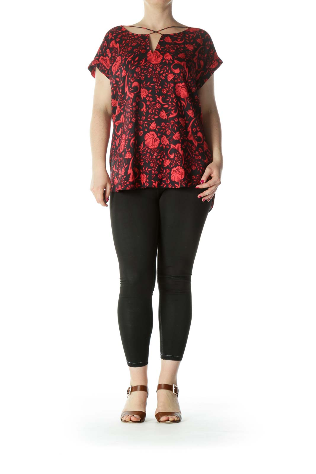 Black Red Floral Cross Neck Blouse