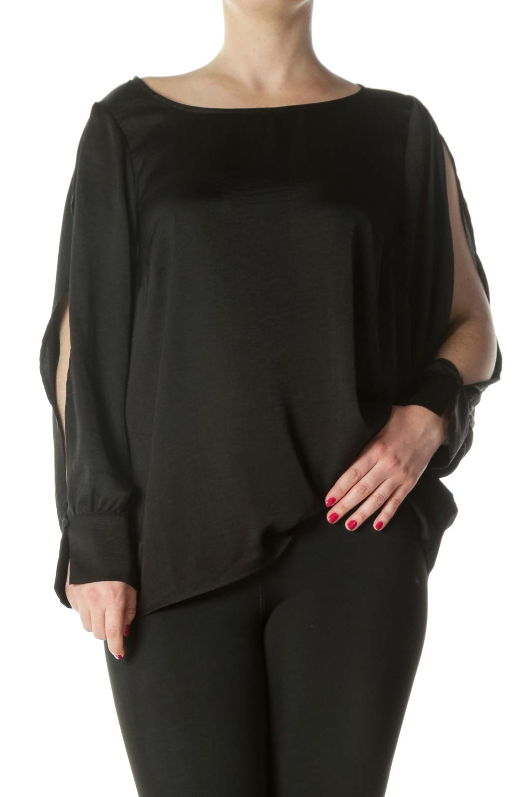 Black Silky Open Sleeves Blouse
