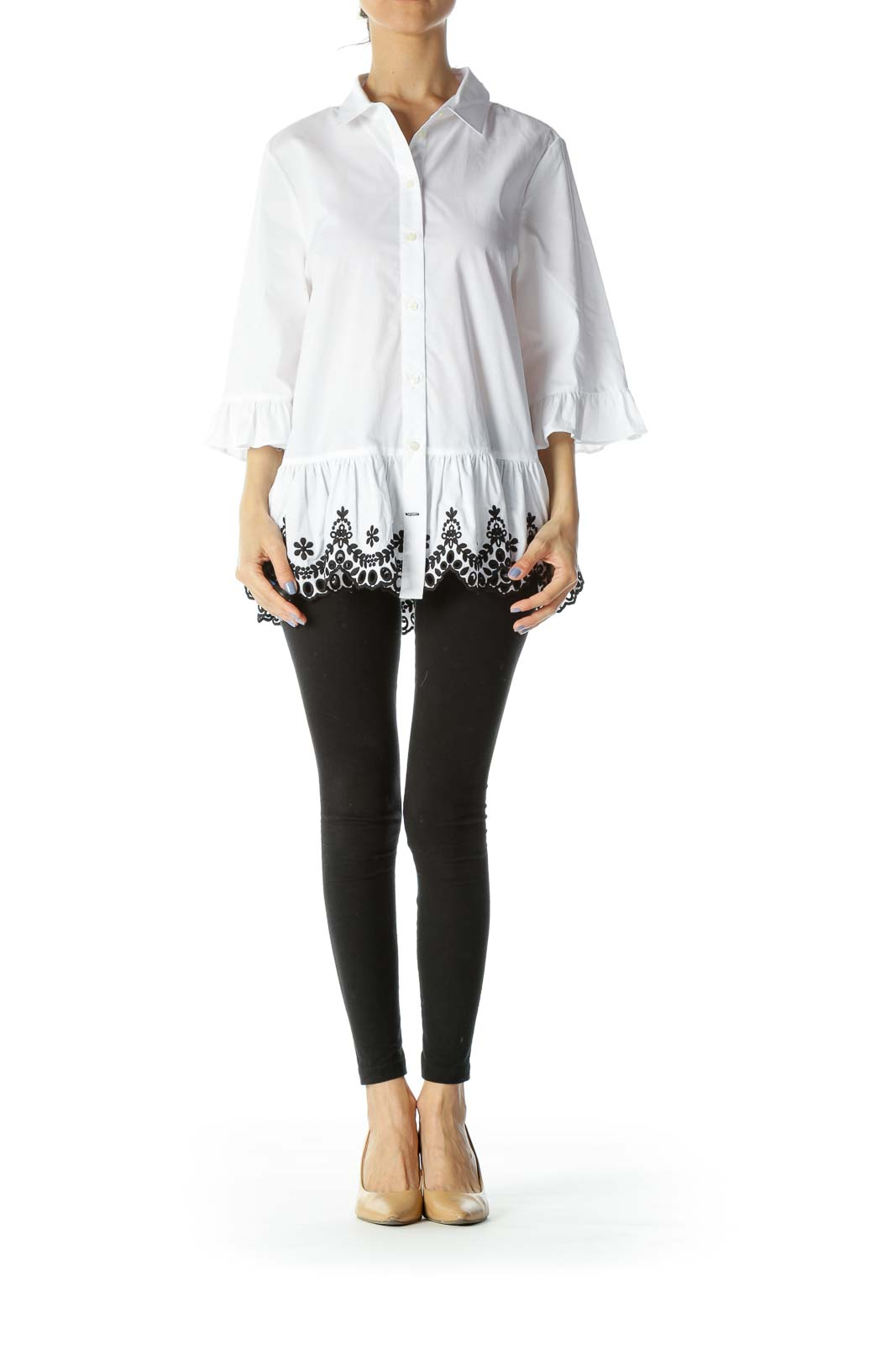 Black/White Buttoned 3/4-Sleeves Embroidered Flared Shirt