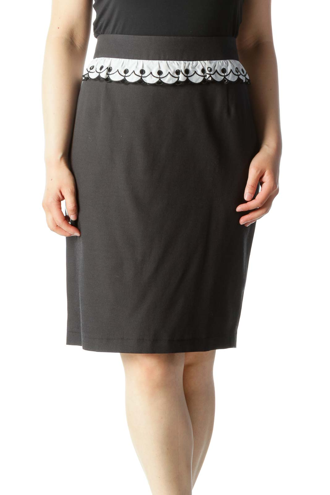 Black Ruffle Detail Silk Pencil Skirt