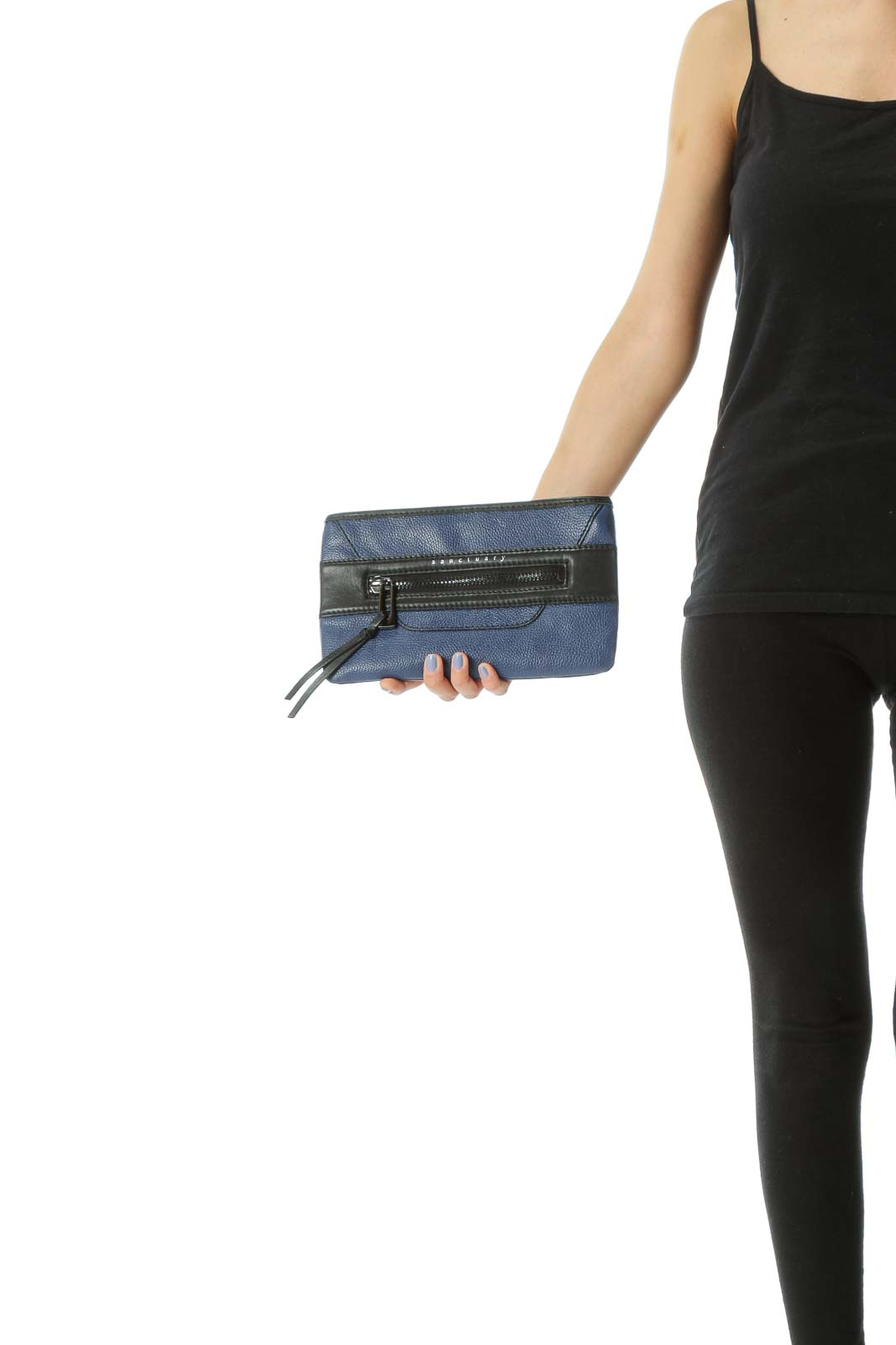 Black/Blue Cow Leather Zipper Tassels Clutch