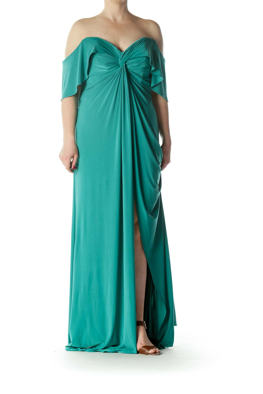 Emerald-Green Sweetheart-Neckline Knot-Detail Inside-Structure Evening Dress