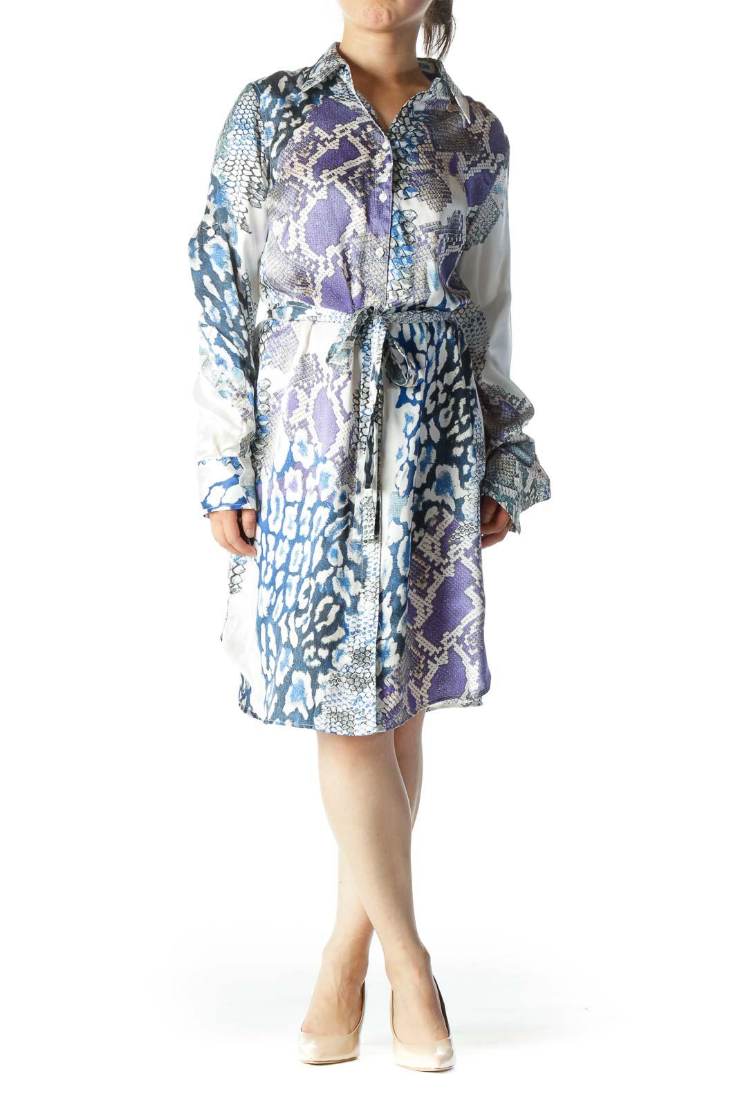 Blue White & Green Snake Print 100% Silk Long-Sleeve Button-Down Waist-Tie Dress