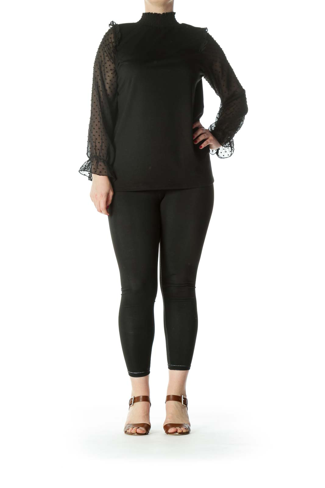 Black Sheer Sleeves Mock Neck Top