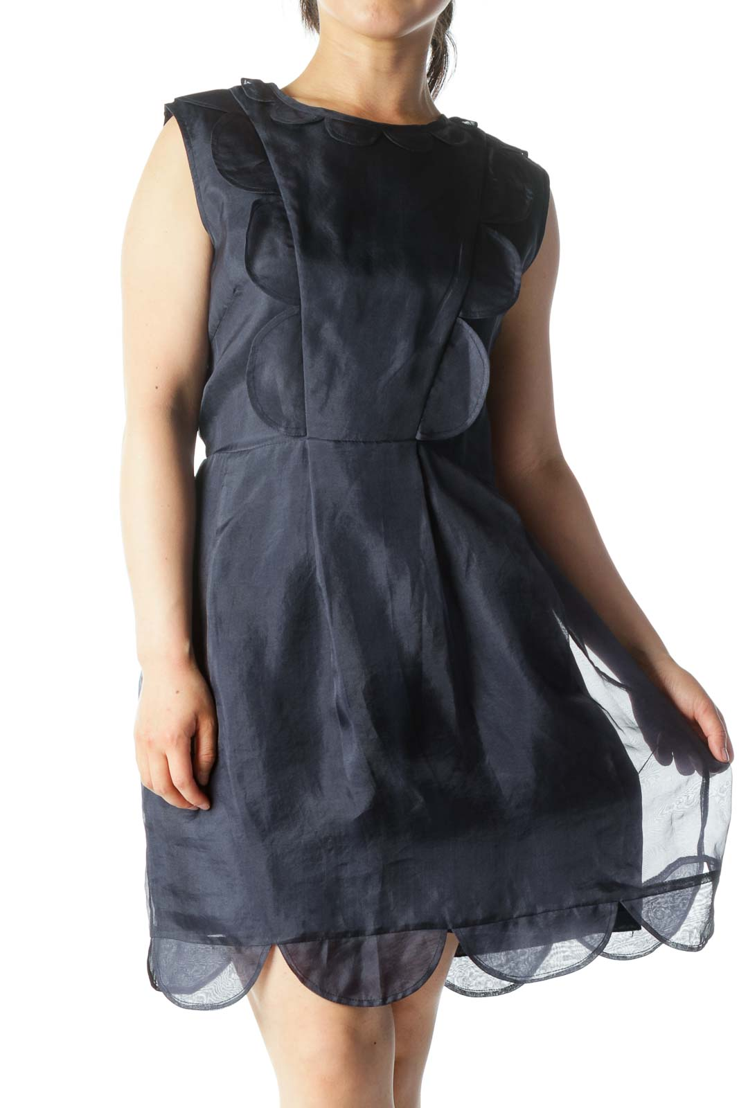 Navy 100% Silk Lettuce-Hem Ruffled Sleeveless Day-Dress