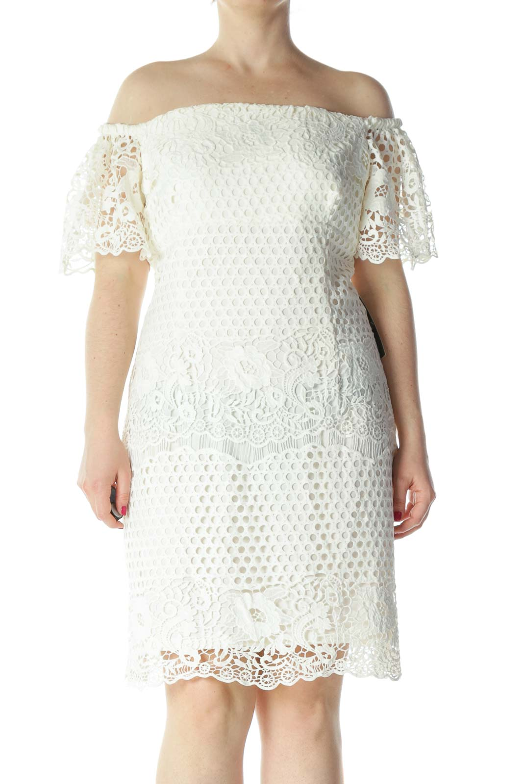 Cream Cold-Shoulder Flower-Knit Eyelet Flared-Sleeves Dress