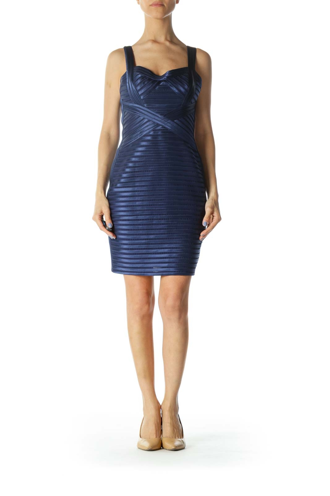 Satin Blue Sweetheart Neckline Mesh Textured Cocktail Dress