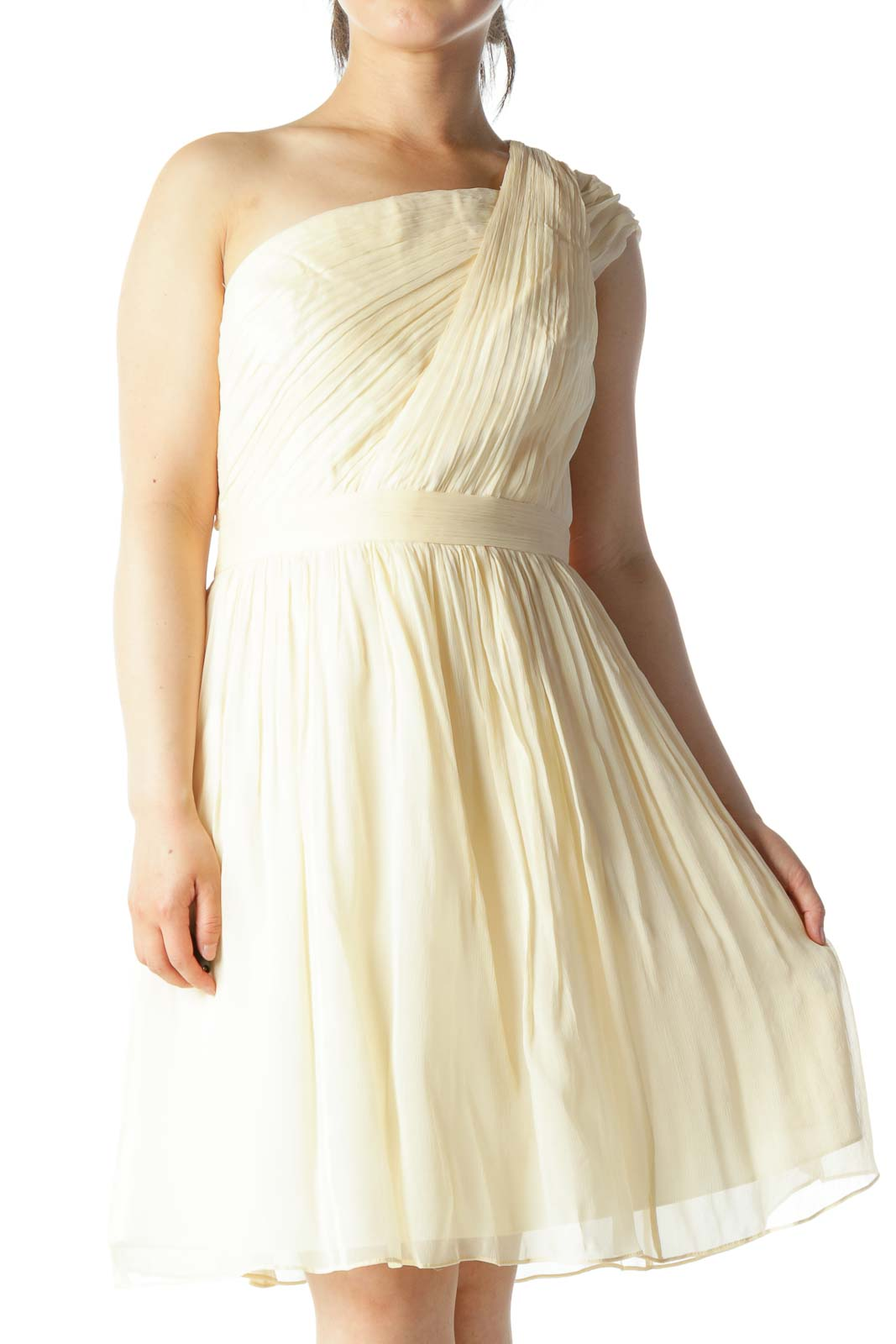 Cream 100% Silk One-Shoulder Pleated Occasion-Dress