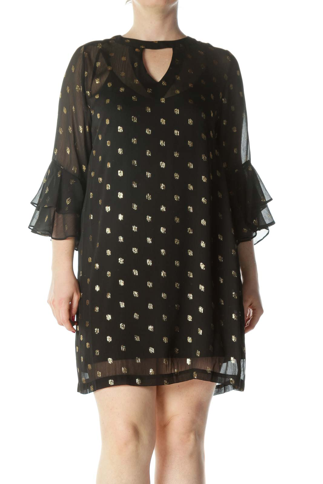 Black/Gold Metallic-Thread-Spots Keyhole See-Through Cocktail Dress