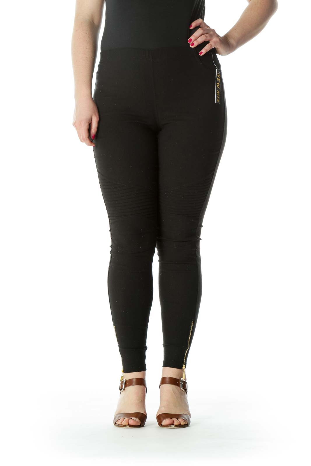 Black Slim Fit Gold Zipper Detail Leggings